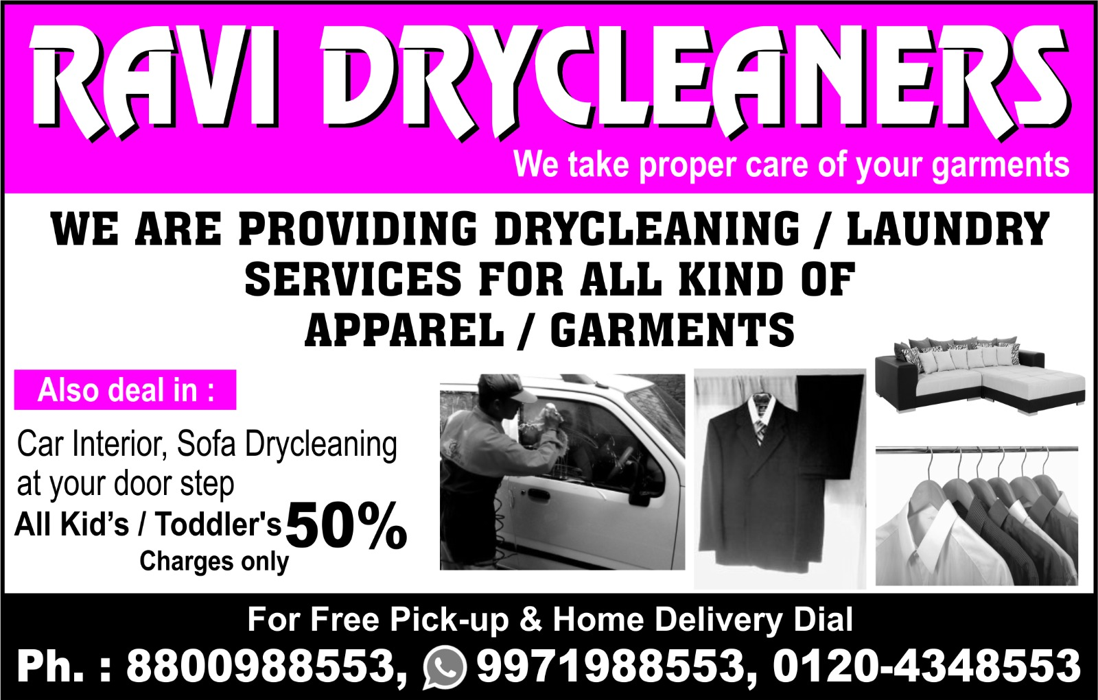 Ravi Dry Cleaners | +91 8800988553 - logo
